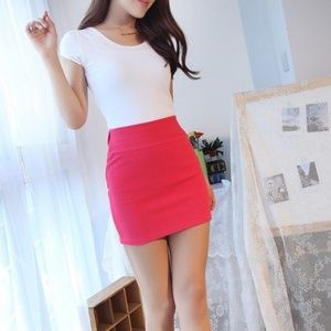 Silence + Noise Red Fitted Skirt